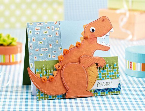 Diy Dino Card Kids Birthday Cards Kids Cards Dinosaur Cards