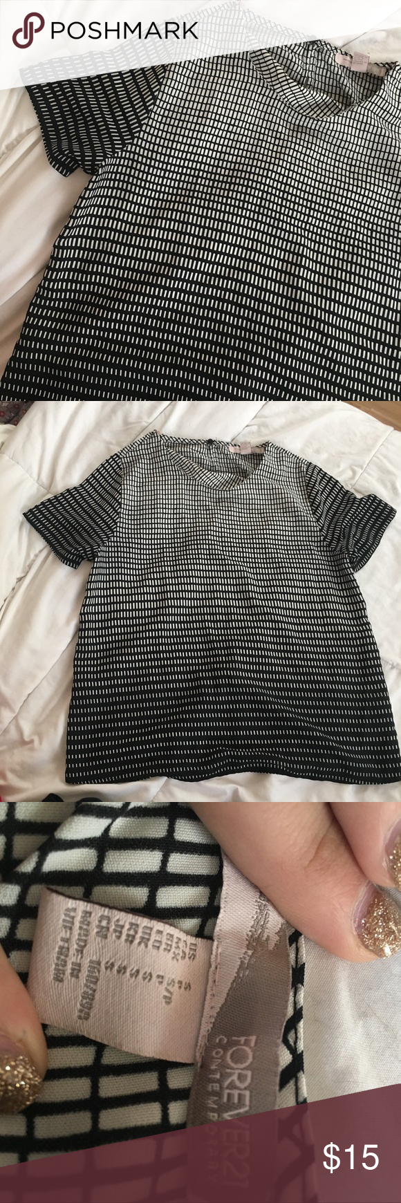 Forever 21 grid shirt Forever 21 shirt with a gridlike