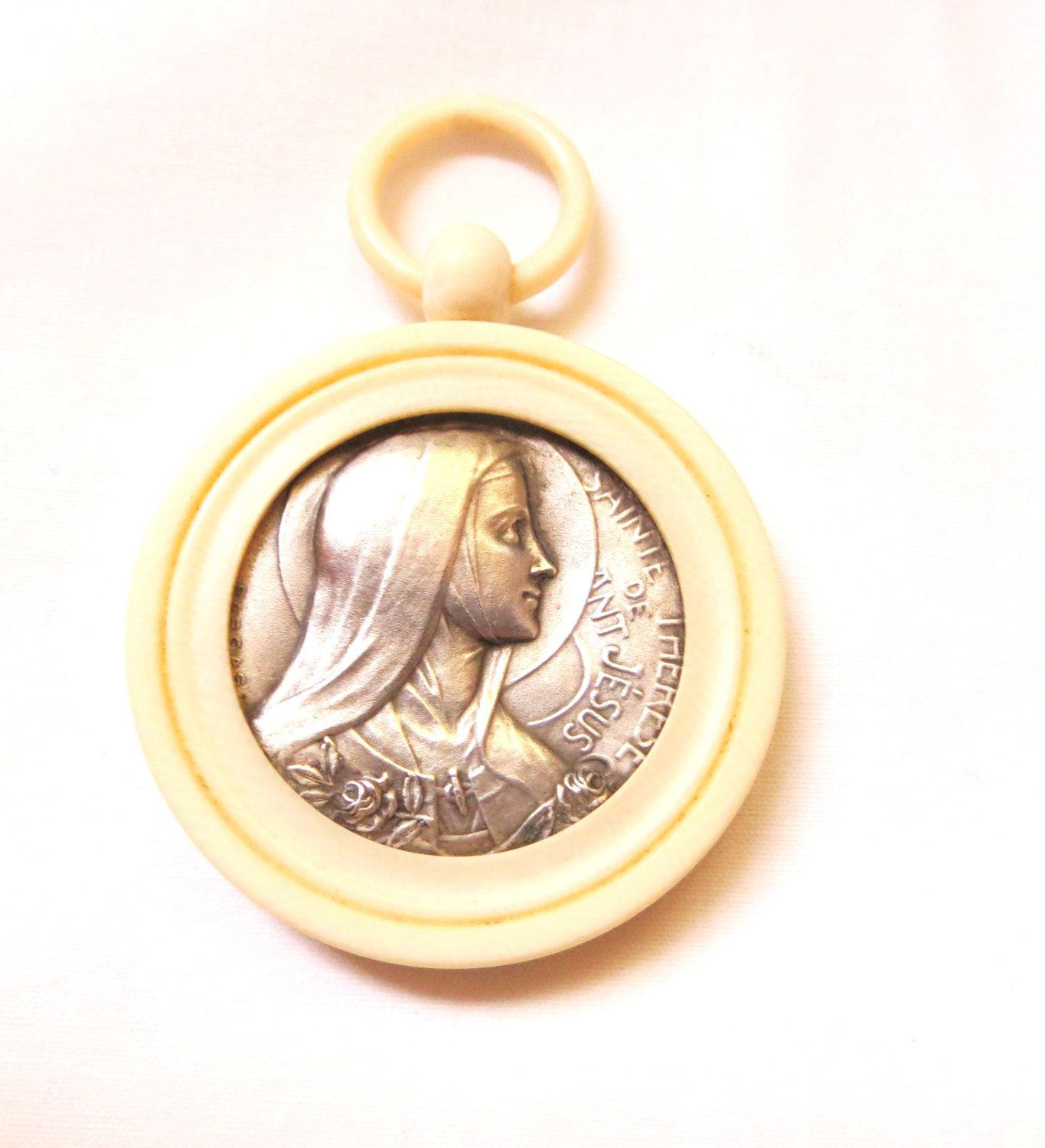 1920s French Saint Therese / Theresa lucite medallion pendant portrait silver  carmelite nun by 2shoppingdiva on Etsy