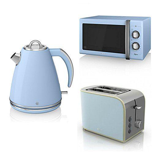 Swan Kitchen Appliance Retro Set - 25L Blue Microwave, 1.5L Blue Jug ...