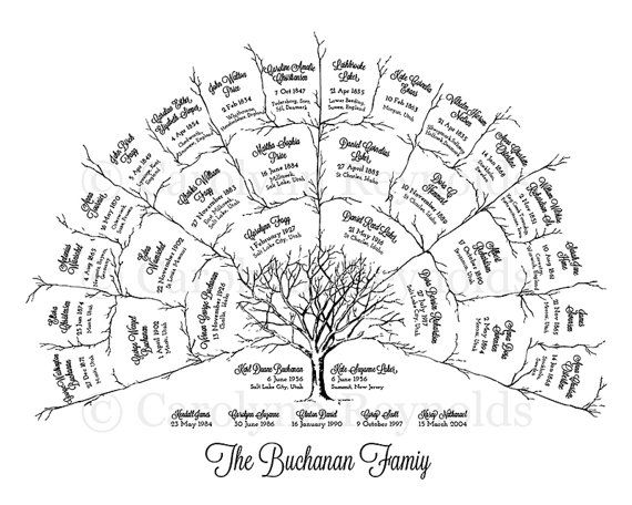 Ancestor & Genealogy Family Tree Fan Chart { 4 Generations