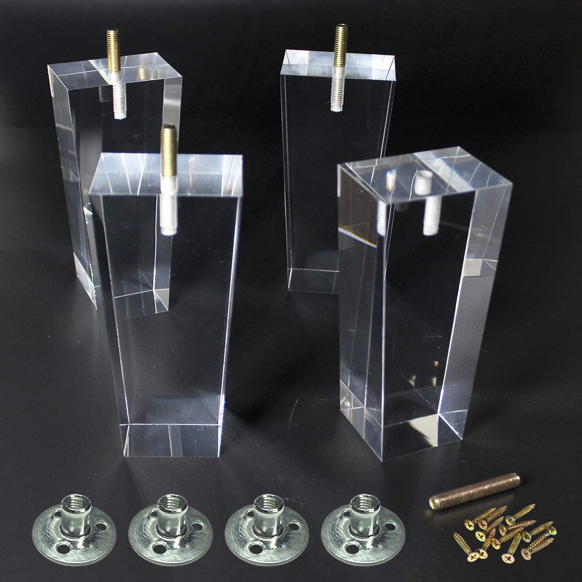 Replacement Legs Square Acrylic Sofa Feet 8 Inch Stand Legs For Bed Side Table Night Table Cupboard Antique M Glass Bookcase Acrylic Furniture Sideboard Buffet