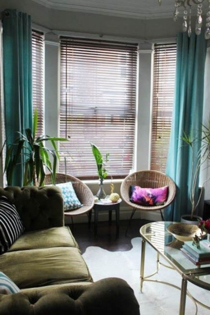 small living room decoration with blue bay window curtain and rattan chairs ideas - Window Treatments For Small Living Rooms