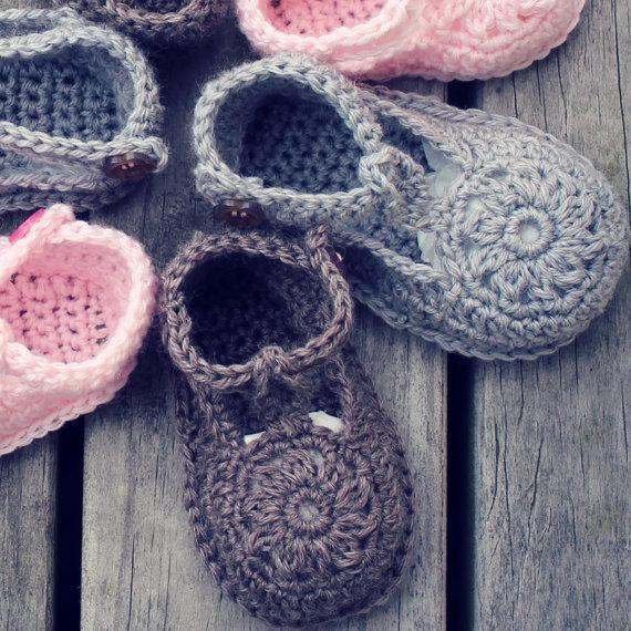 Descargar ahora - zapatos de bebé CROCHET patrón flor Motif - patrón ...