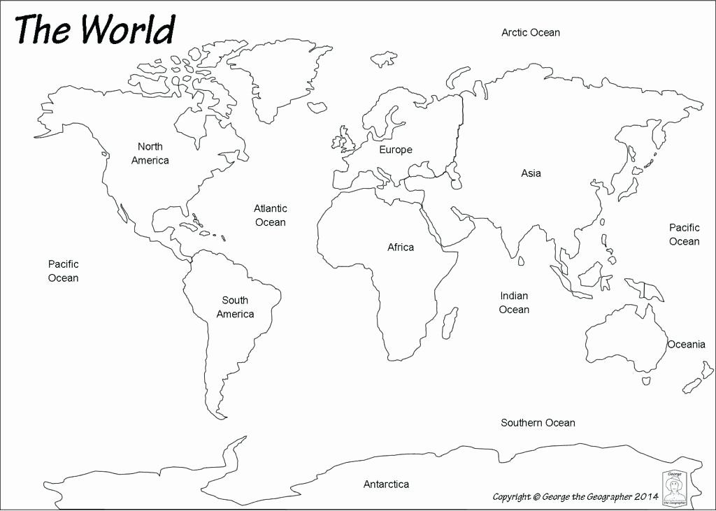 Label Continents and Oceans Printable Best World Map with