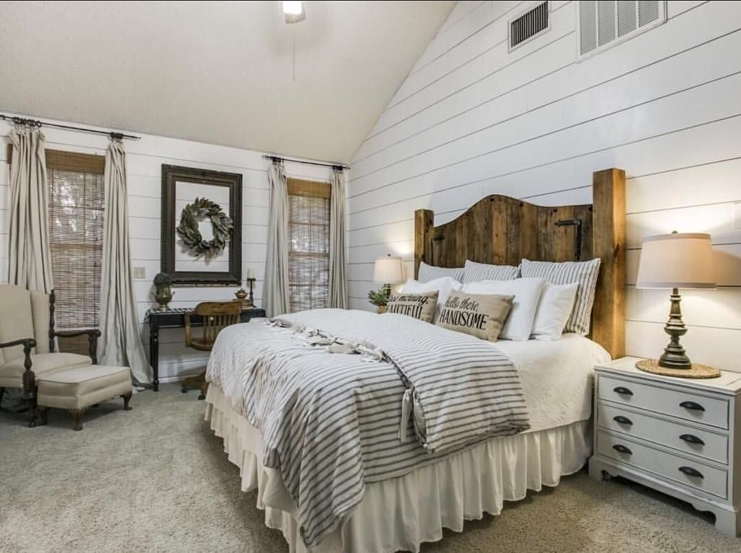 Shiplap Bedroom Farmhouse Bedroom Farmhouse Bedding Neutral Bedroom Rooms And Spaces In