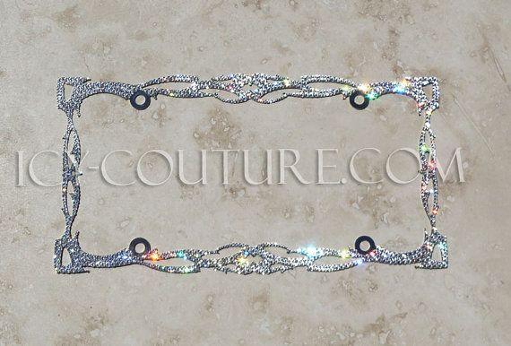 1 Row CLEAR DIAMOND Crystal Bling License Plate Frame Austrian Rhinestones