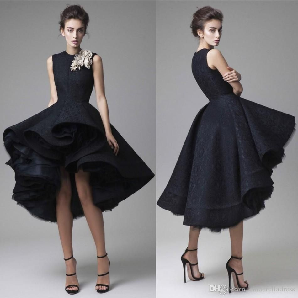 Cheap Long Sleeves Prom Dresses Black Two Pieces Lace Top And Satin ...