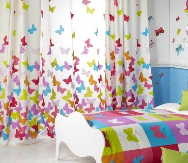 rideau chambre enfant beaux papillons sur fond blanc resized