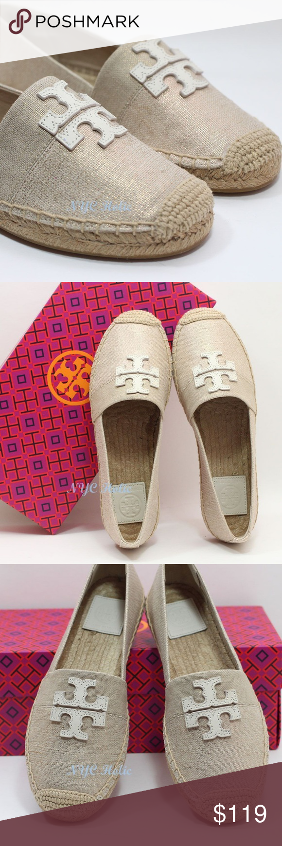 c9637be0d94 Tory Burch Weston Flat Espadrille Natural Ivory Two-toned canvas upper with  topstitched leather signature