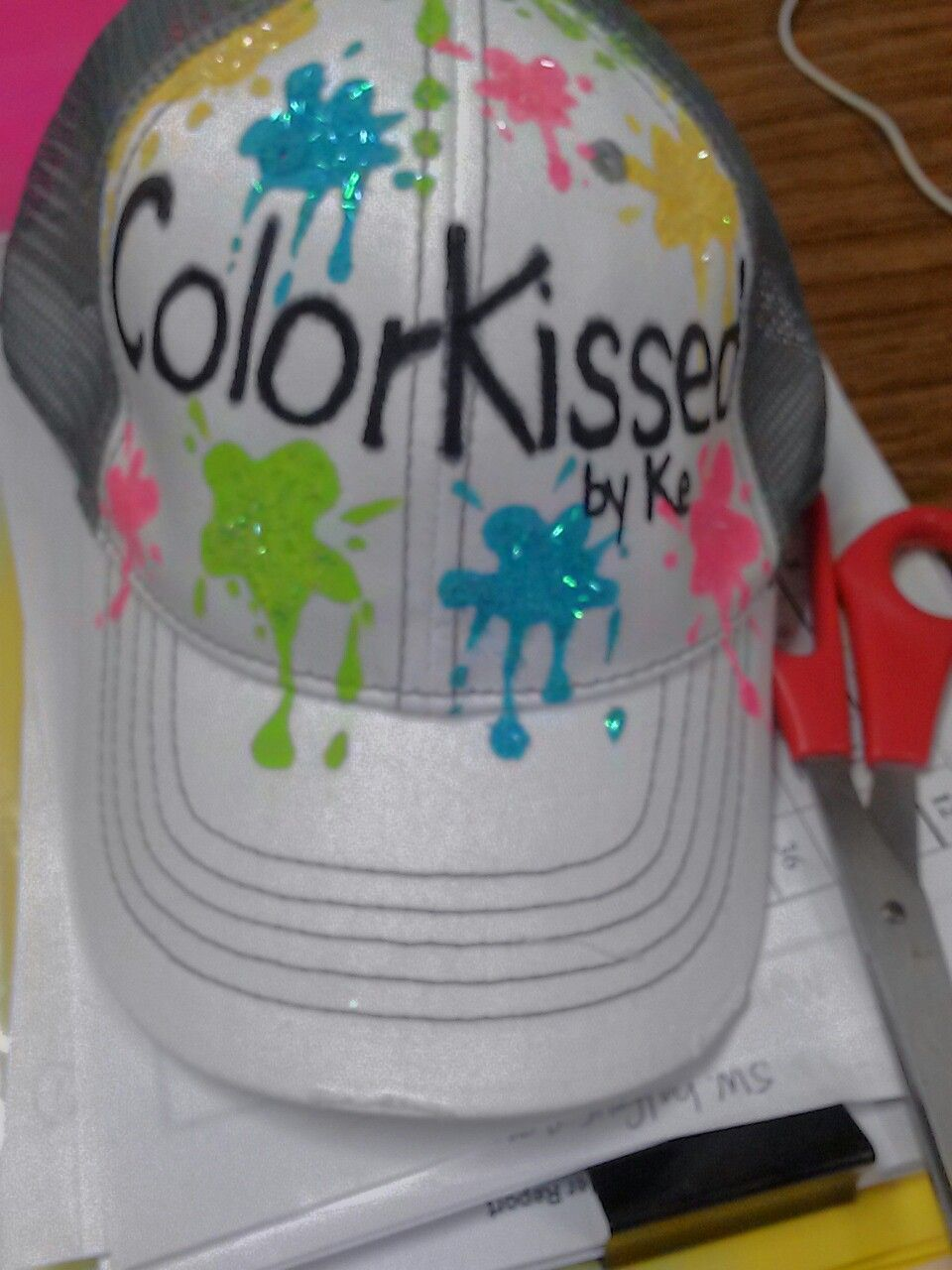 Splattered Paint Baseball Cap All Hand Work By Me For A Friend Painted Hats Handmade Paint Cap Designs