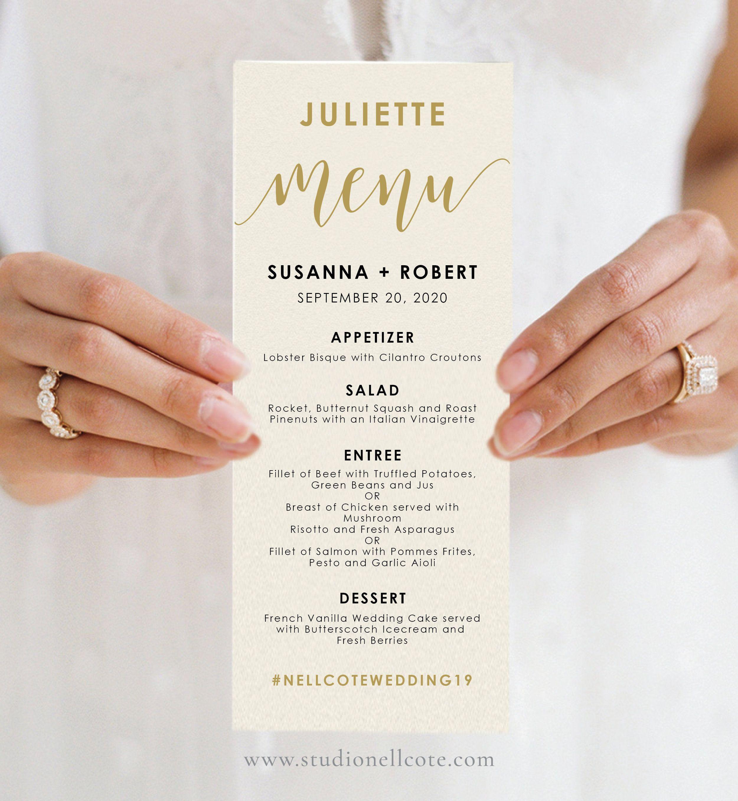 Gold Guest Name Menu Template Personalized Wedding Menu