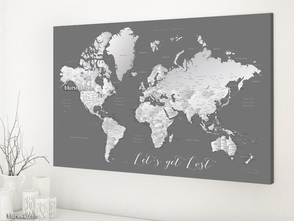 Grayscale world map with cities 36x24 canvas print lets get lost grayscale world map with cities 36x24 canvas print lets get lost world map gumiabroncs Gallery