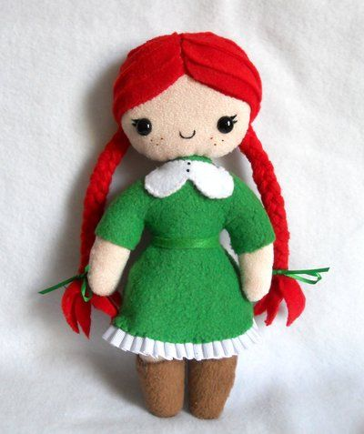 """Felt doll for Annie..except with poofs not braids :) and red dress for """"Annie"""""""