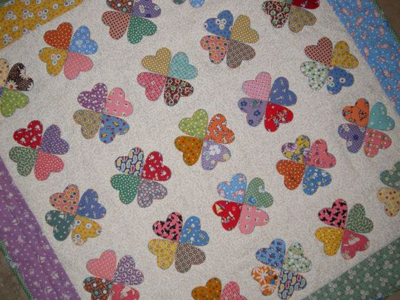 Vintage hearts applique quilt from quilts by elena 1930s