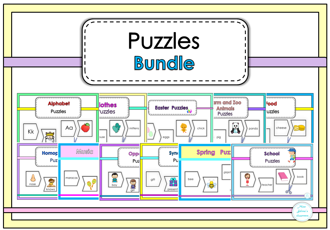 $ Puzzles Bundle includes 23 Puzzle Sets.    Each Set has two-piece puzzles to practice         different vocabulary in a super fun way!