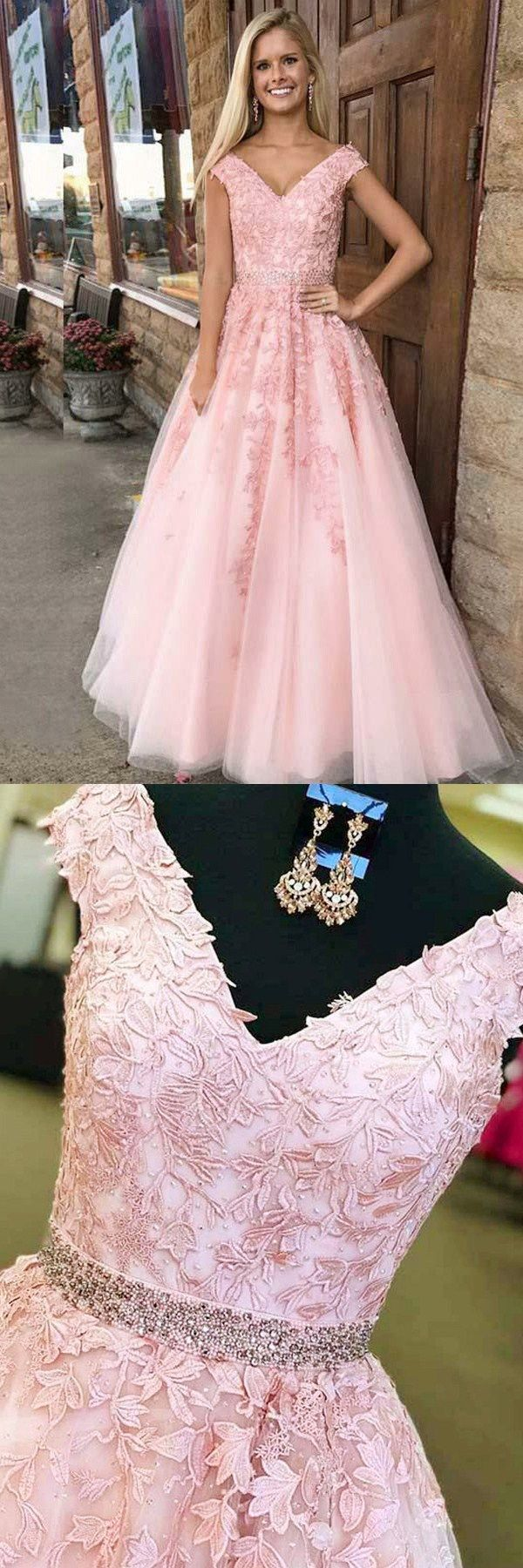 Aline vneck sweep train pink tulle prom dress with appliques