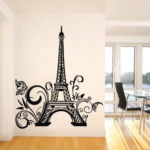 Tall eiffel tower wall decal huge paris city for Mural lettering
