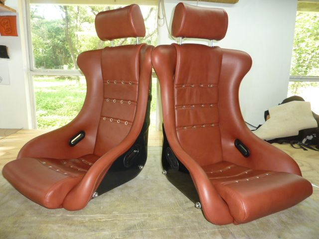 our Vallelunga seat in leather w grommets,headrest,5 point and sidemountings.Custom classic seats made by GTSclassics.