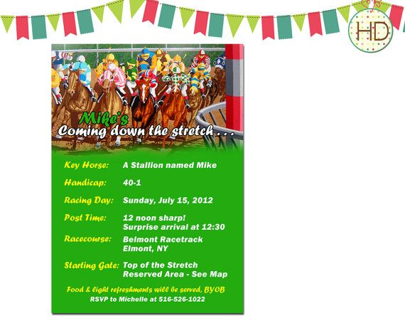 Horse Racing Invitation Coming down the stretch Invitation Racing