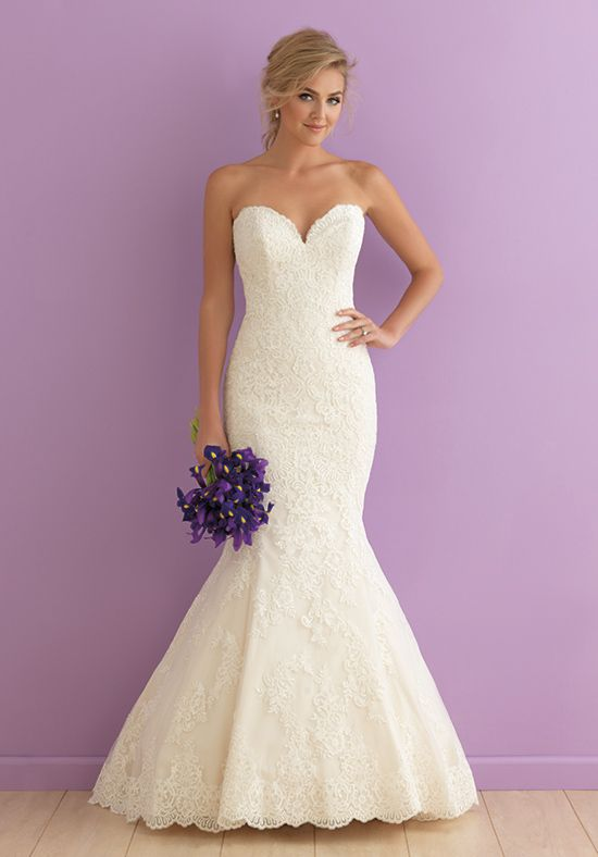 Strapless Lace Mermaid Wedding Stress Style 2906 By Allure Bridals Http