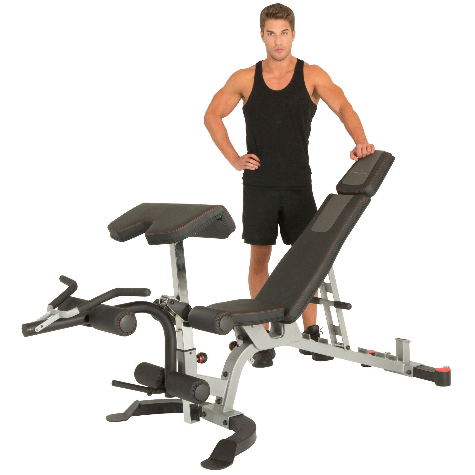 Fitness Reality X Class 1500 Lb Light Commercial Utility Weight Bench With Olympic Preacher Curl And Leg Developer Attachment Steel Verpackung