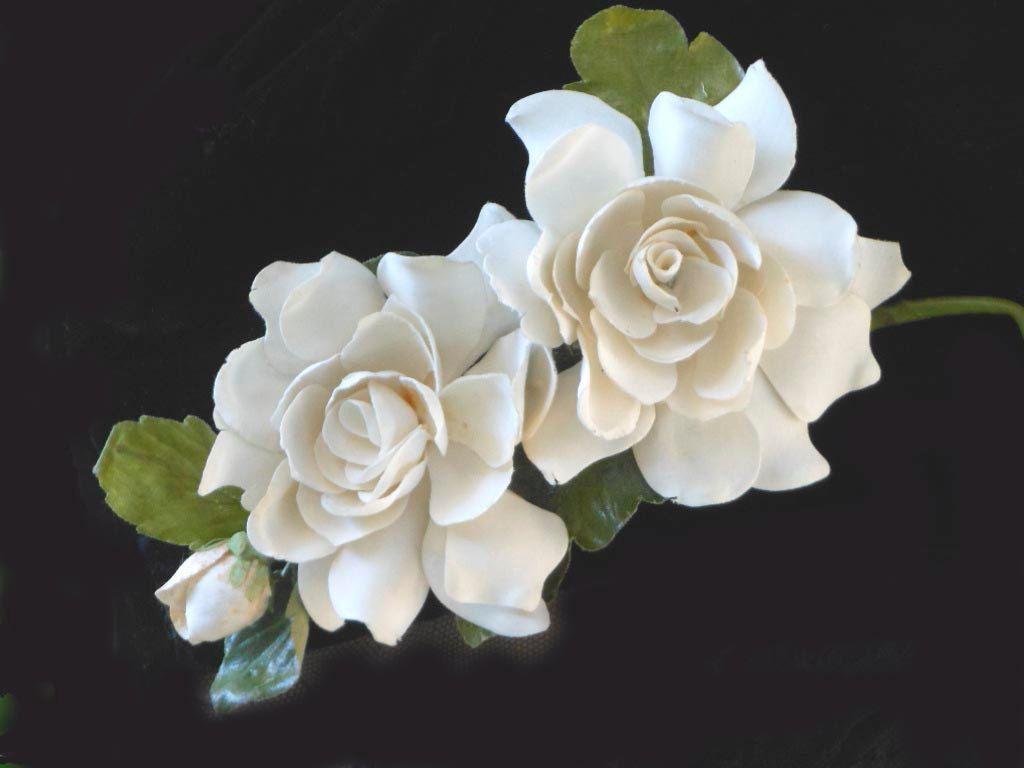 GARDENIA Corsage 1930s 1940s, 2 Creamy White Flowers With Bud .