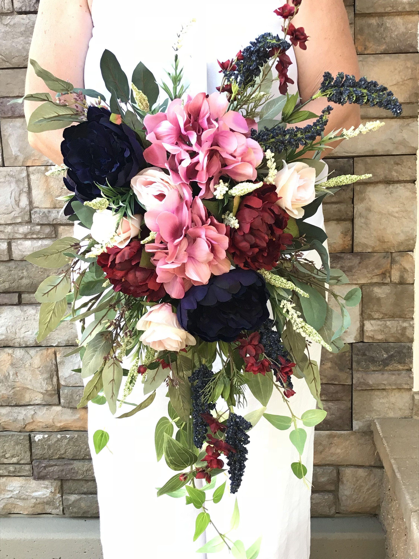 Cascading Navy Burgundy Blush Bridal BouquetSilk