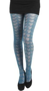 Knitted Heart Tights - Bottle