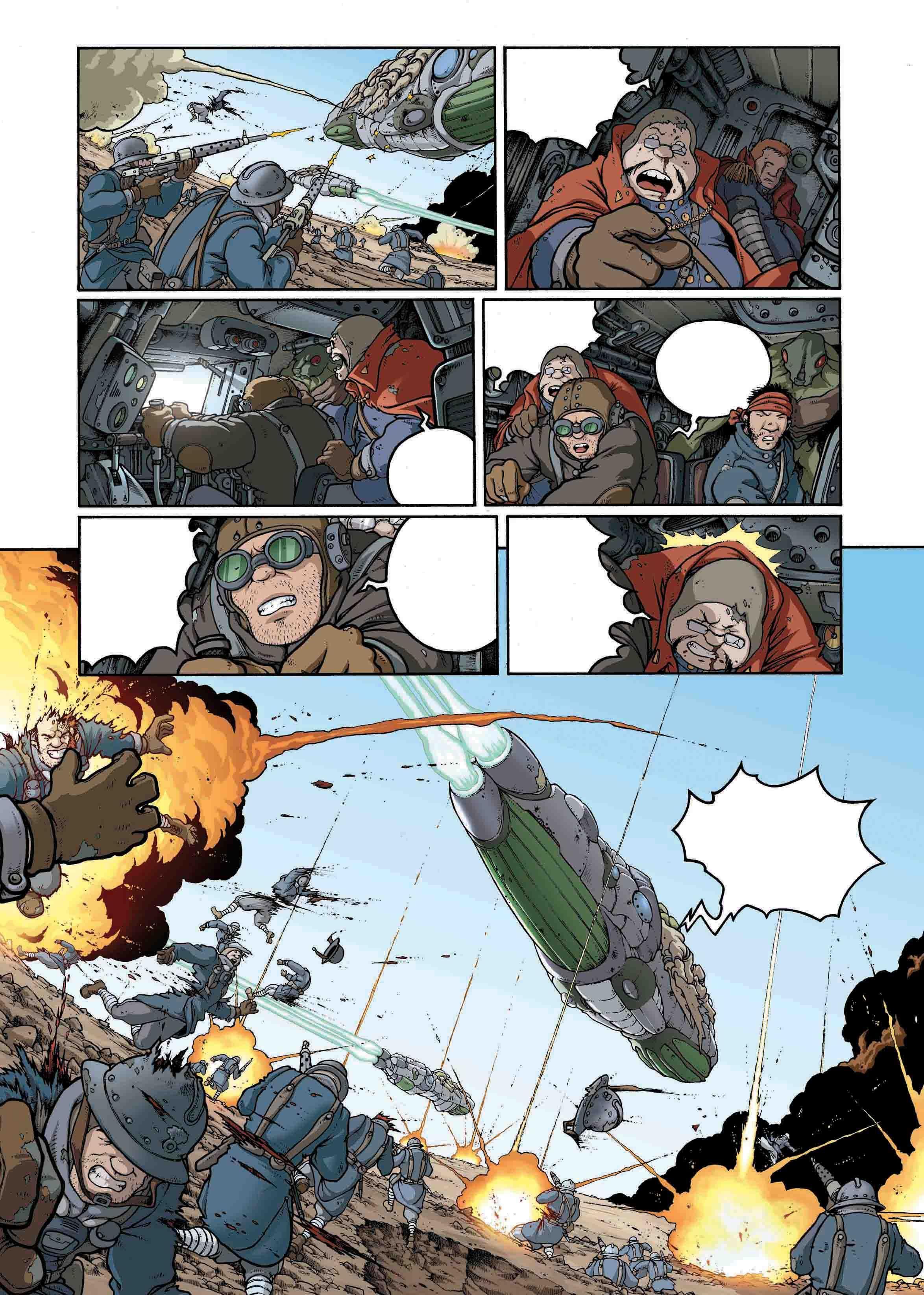 "Page 29 from ""Au nom du pere"". La Mandiguerre, Tome IV.  Text: JD Morvan.  Art: Stefano Tamiazzo.  #delcourt #morvan #bd #manga #comics #fumetti #sceneario #lamandiguerre #steampunk #stefanotamiazzo"