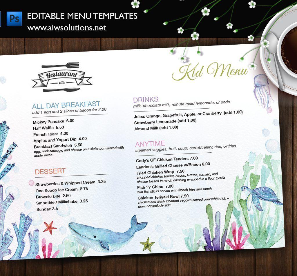 menu id35 children s menus kid s coloring placemats for