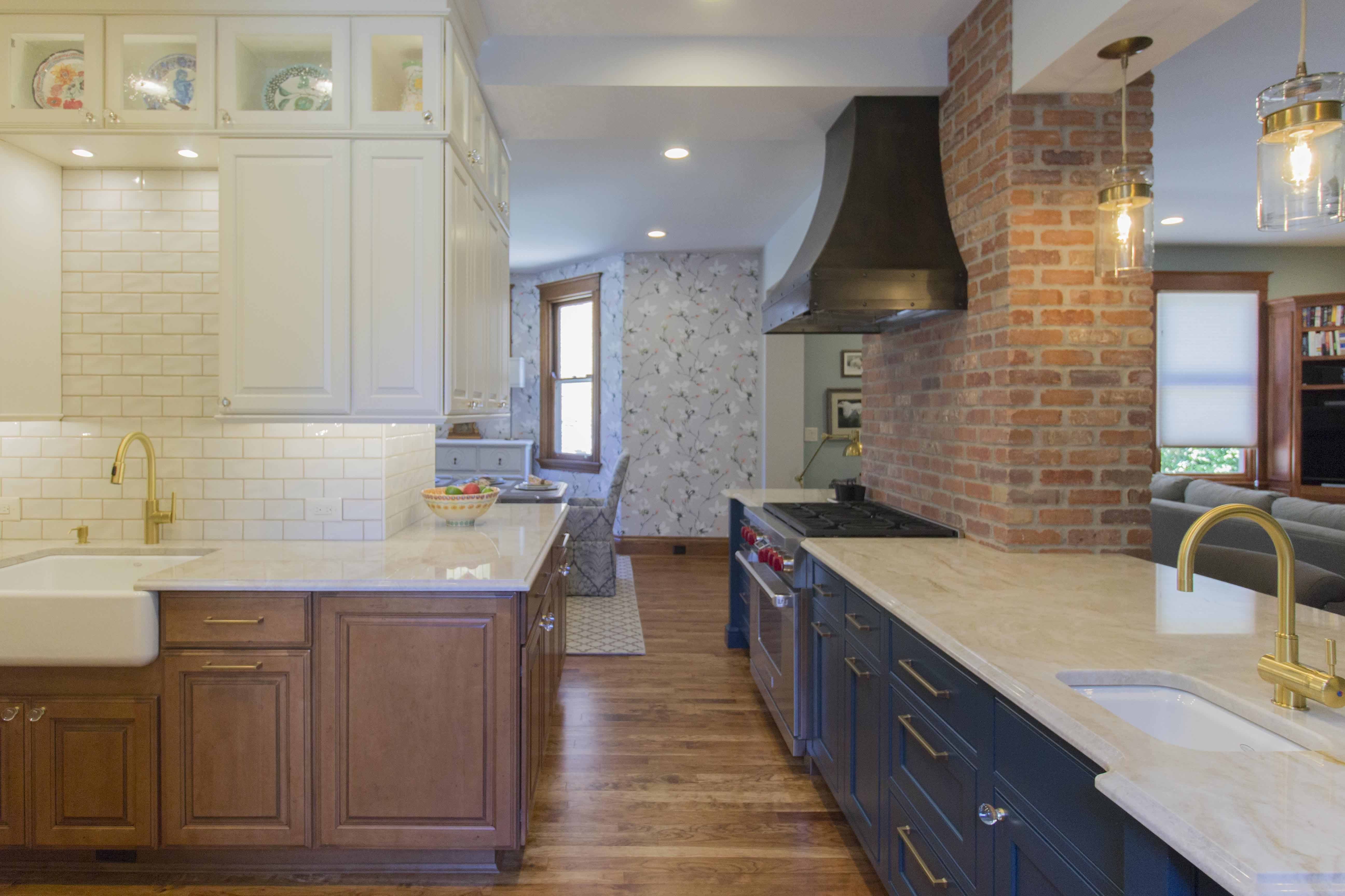 Take A Look At This Eclectic Kitchen Renovation With Its Beautiful Exposed Brick And Fun Color Combinations Ta Custom Kitchens Design Eclectic Kitchen Kitchen