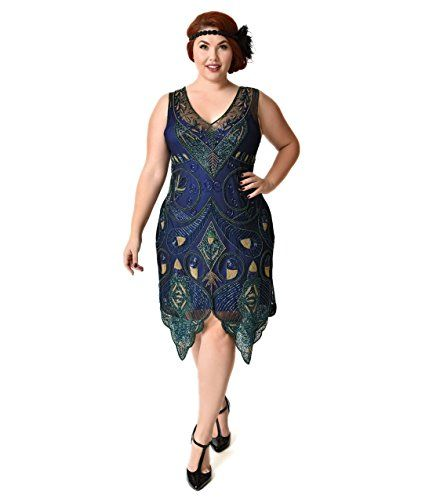 56dbb2a5aba Unique Vintage 1920s Style Plus Size Navy Blue Green Beaded Emma Flapper  Dress        AMAZON BEST BUY     VintageDresses