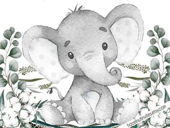 Neutral Baby Shower Invite Elephant Baby Shower Invitation Safari