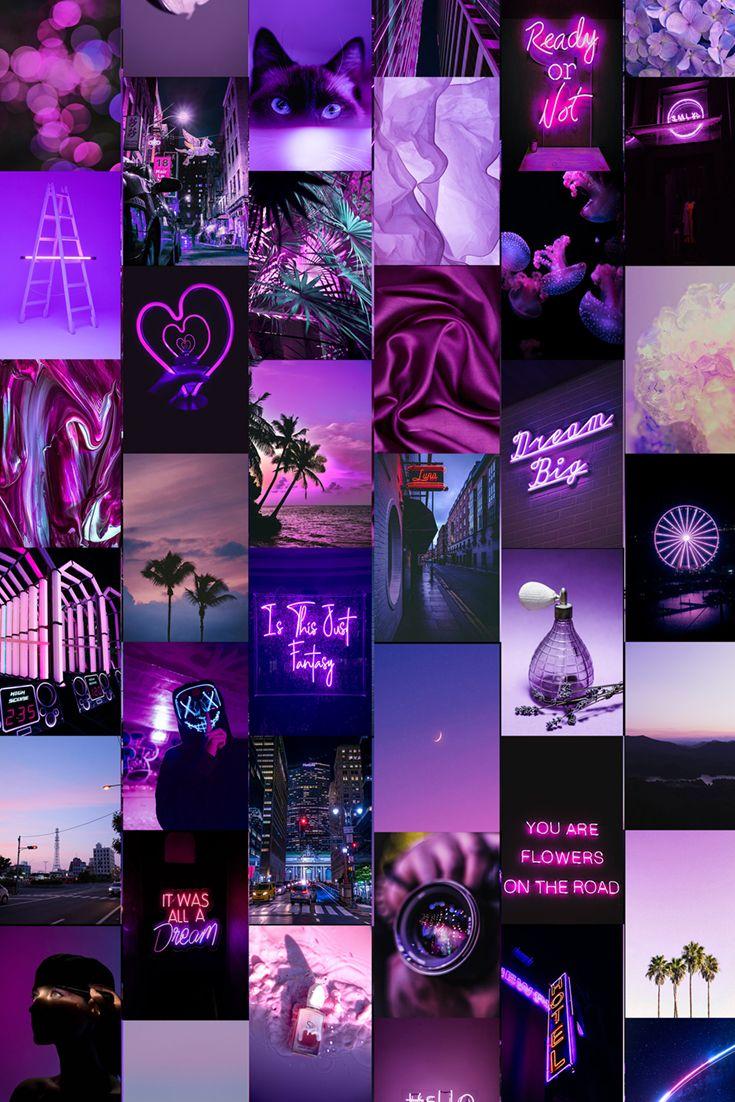 Purple Collage Kit Digital 100 PCS Purple Aesthetic Wall Collage kit VSCO Wall Collage Prints Neon