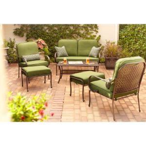 Wonderful Hampton Bay Fall River 4 Piece Patio Seating Set With Moss Cushions DY11034