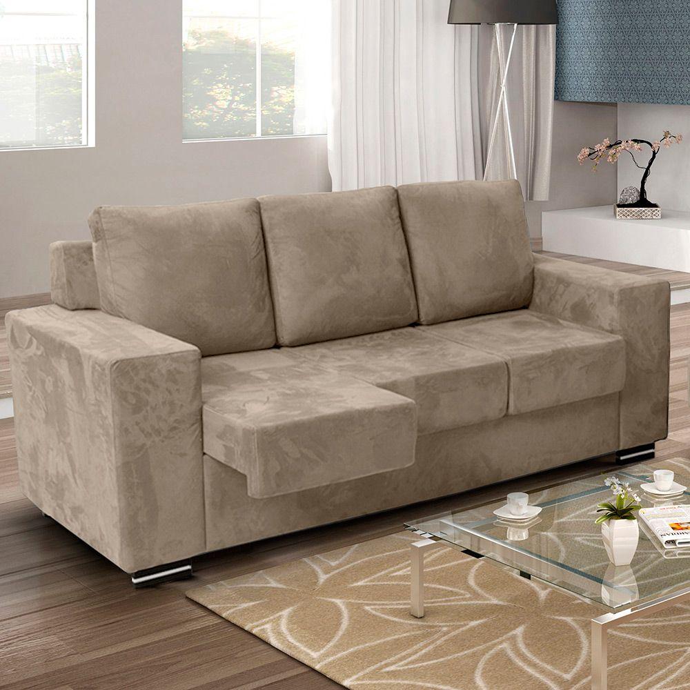 Sof 3 lugares e assento retr til arezzo suede bege for Sofa para sala de tv