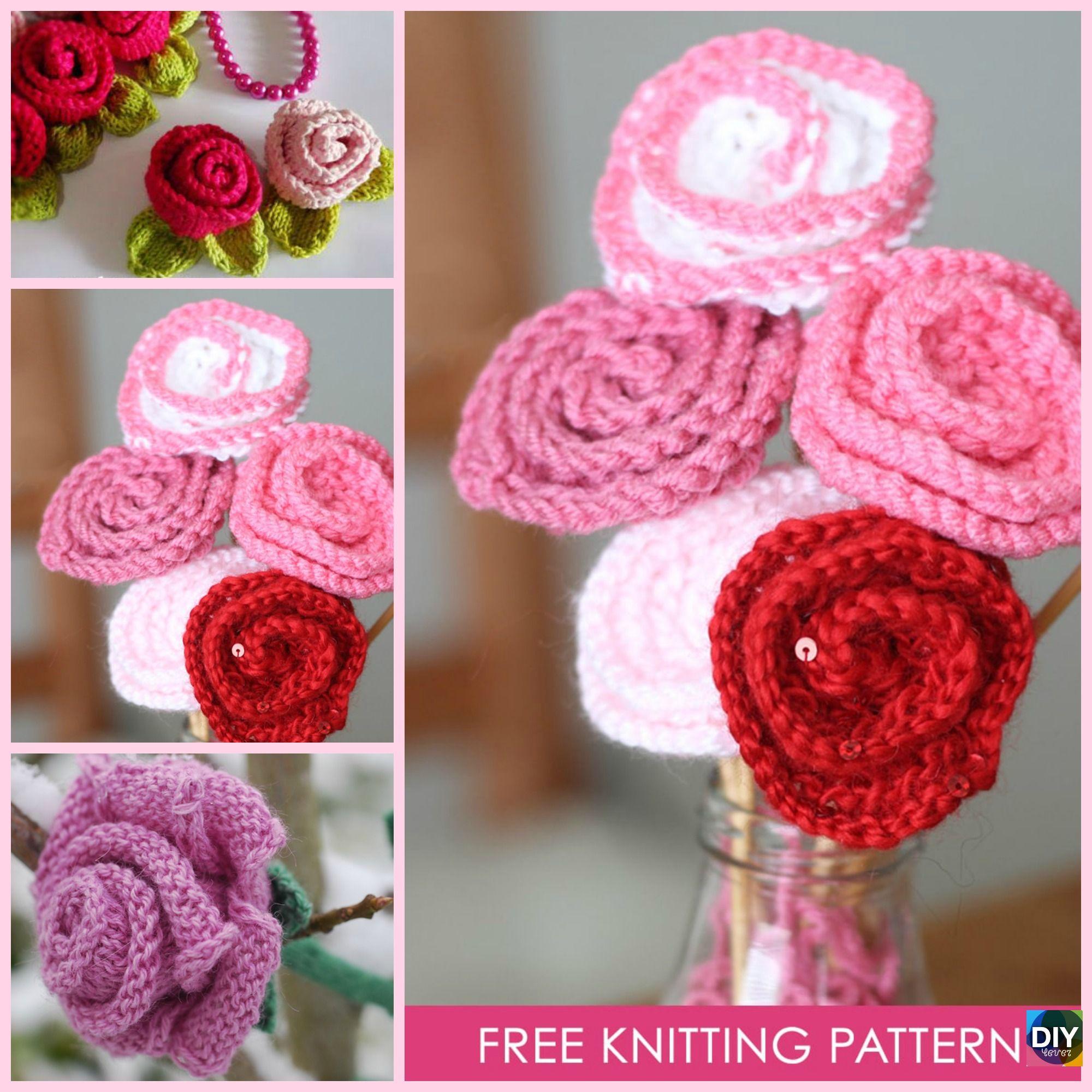 Knit Little Rose Flower For Beginner Free Patterns Crochet Diagram Flowers 4 Freeknittingpattern Roseflower