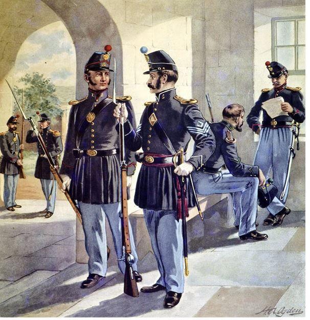 Us Infantry 1885 Vintage Art Prints Infantry Us Army Uniforms