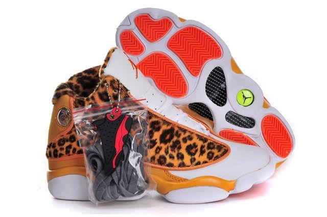 51227c685fb Legit Cheap Womens Air Jordan 13 Cheetah Leopard Print Bright Citrus White  Orange For Sale