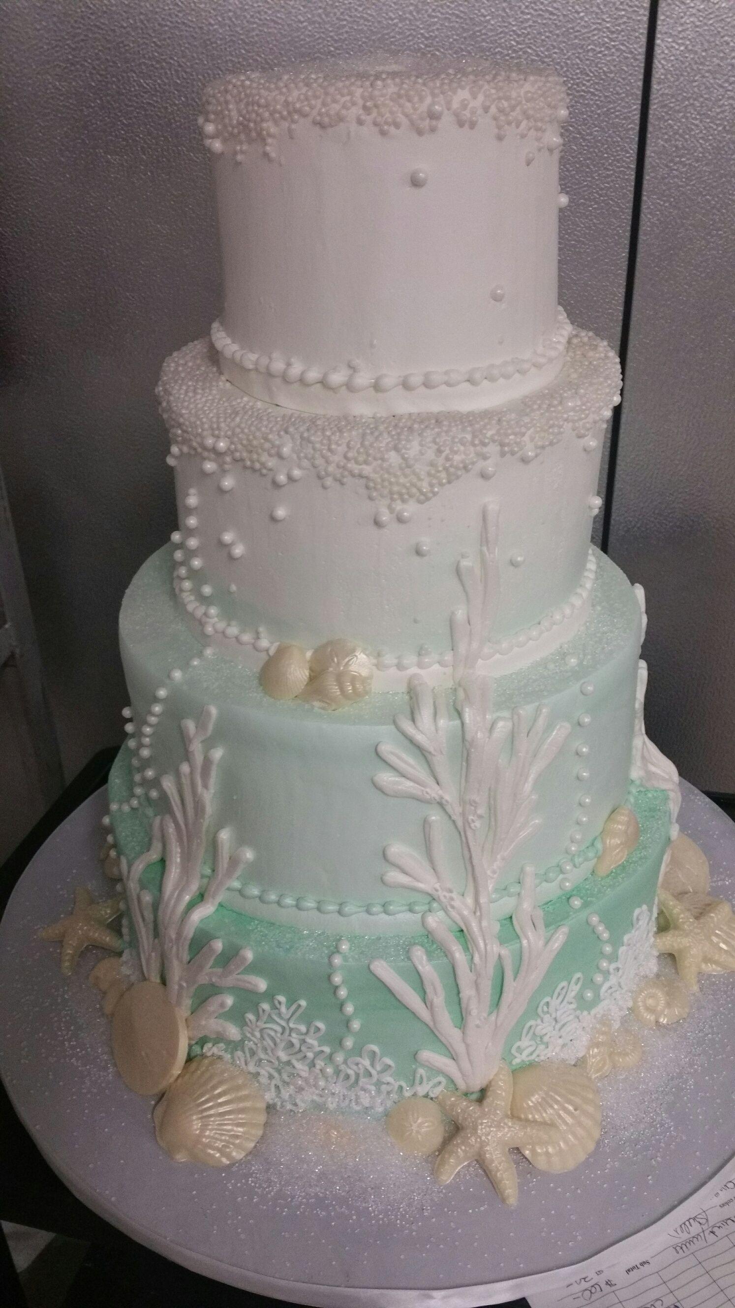 Ombre Aqua Ocean Wedding Cake