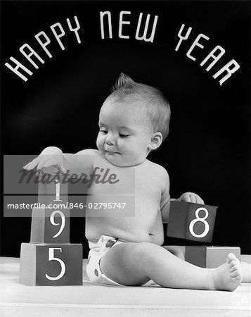 1950s Baby With Building Blocks 1958 Happy New Year Sign Above His Head Happy New Year Signs Happy New Year Happy New Year Baby