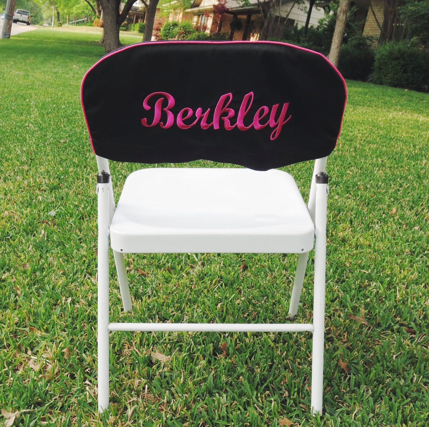 Folding Chair Embroidered Outdoor Wood Chairs Diy Custom Slip Cover For Good A Wedding Or Grad Party Www Dfwembroidery Com