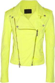 Karl Lagerfeld|Jovanna neon stretch-denim biker jacket|NET-A-PORTE... Casacos