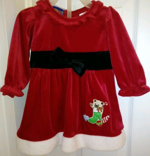 Scooters Infant Girl Christmas Dress sz 3/6 Months Red Santa Baby ...