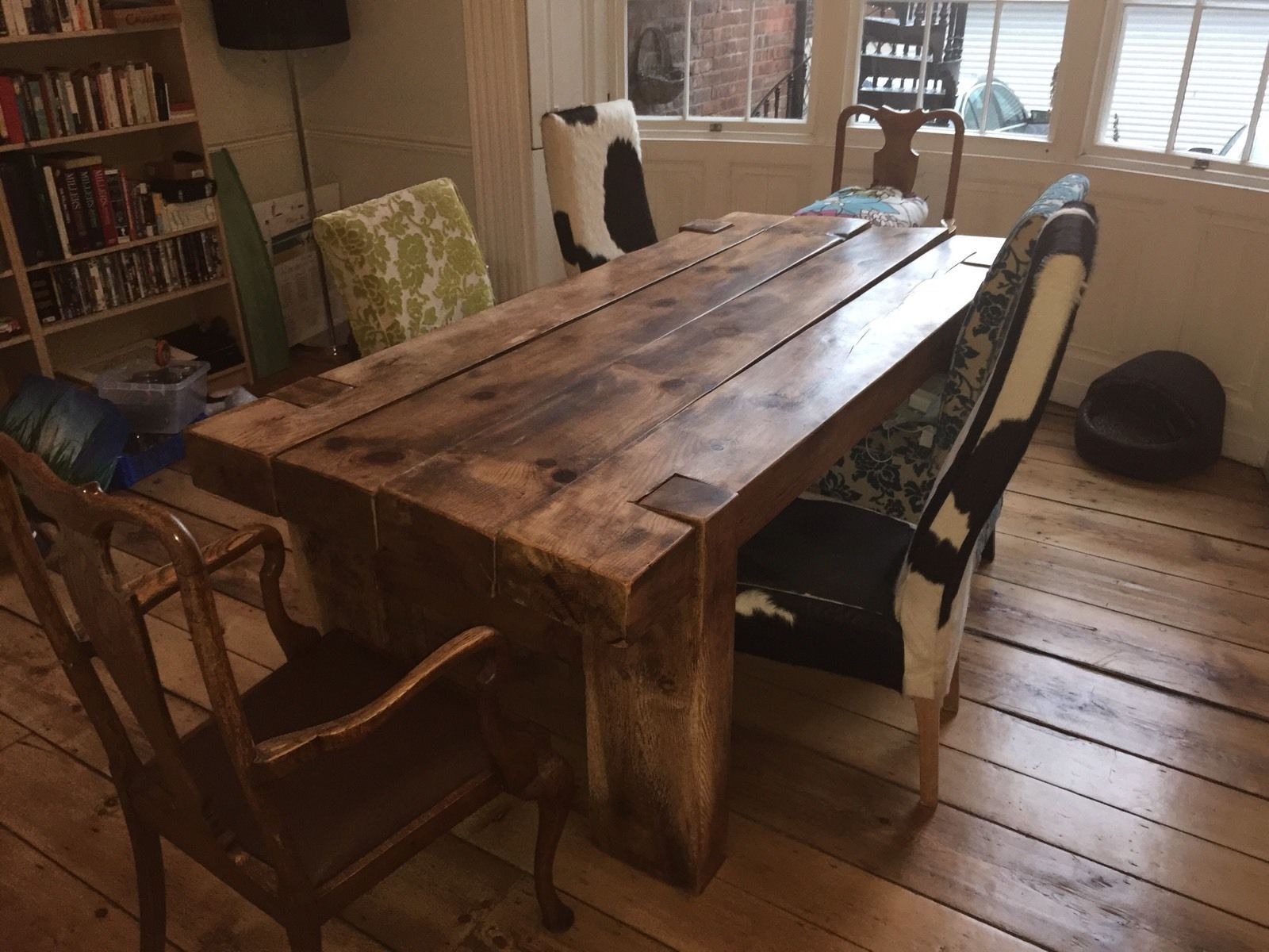 Large Rustic Sleeper Dining Table - Ebay