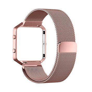 PUGO TOP Milanese magnétique en acier inoxydable Bande Montre +Armature en métal pour Fitbit Blaze-or rose
