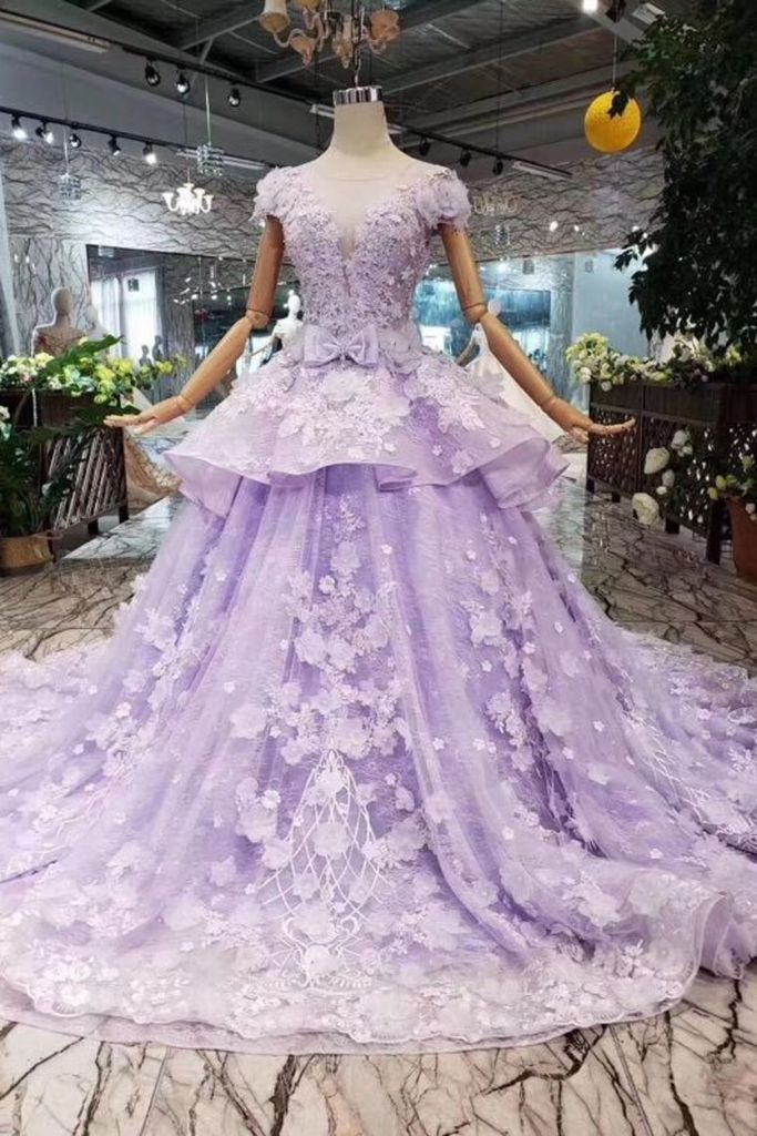 Lavender tulle cap sleeves A-line lace up long prom