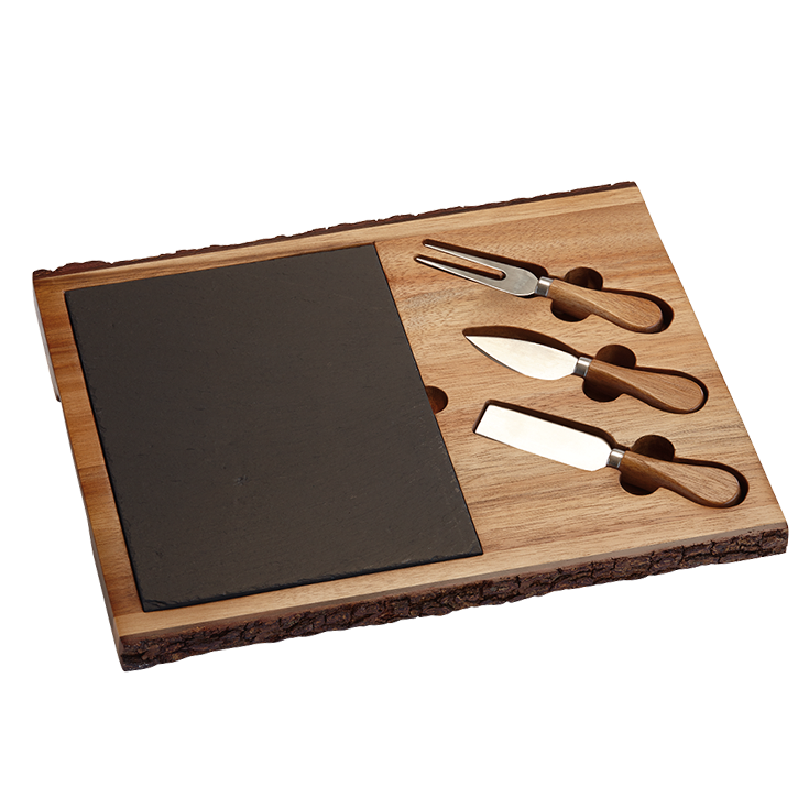 A rustic live-edge cheese board with knives is both ...