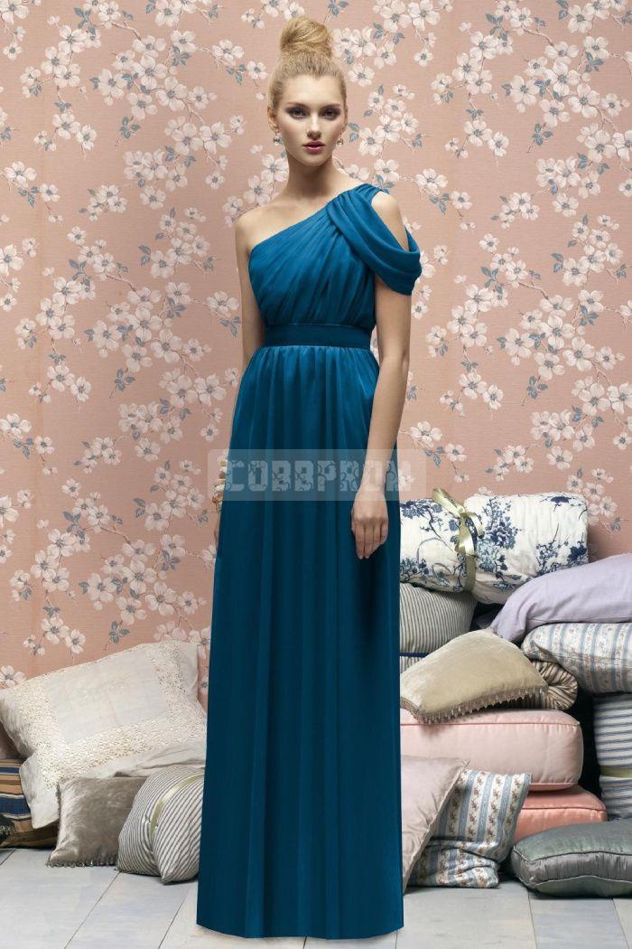 Off-the-shoulder Column Chiffon Blue Bridesmaid Dress